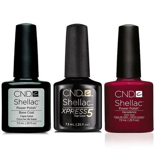 CND - Shellac Xpress5 Combo - Base, Top & Decadence (0.25 oz)