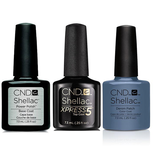 CND - Shellac Xpress5 Combo - Base, Top & Denim Patch (0.25 oz)