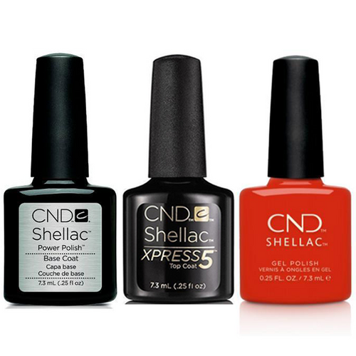 CND - Shellac Xpress5 Combo - Base, Top & Hot Or Knot (0.25 oz)