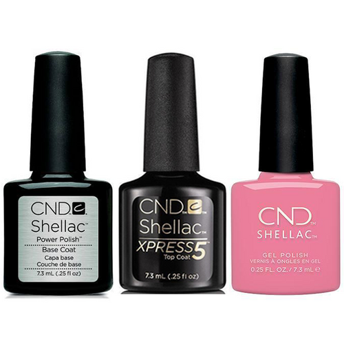 CND - Shellac Xpress5 Combo - Base, Top & Kiss From A Rose (0.25 oz)