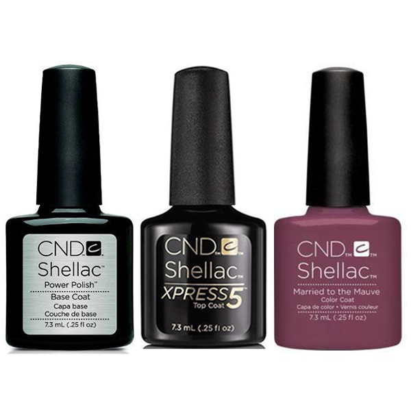 CND - Shellac Xpress5 Combo - Base, Top & Married To Mauve (0.25 oz)