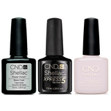 CND - Shellac Xpress5 Combo - Base, Top & Pointe Blanc (0.25 oz)