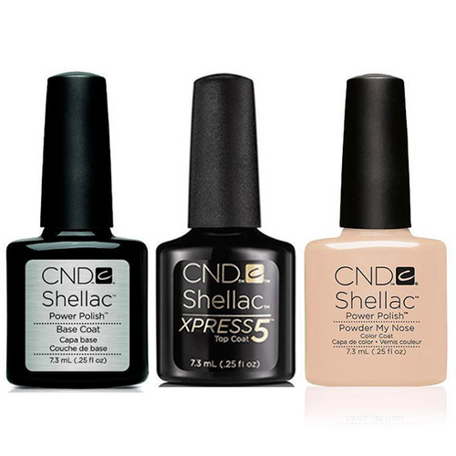 CND - Shellac Xpress5 Combo - Base, Top & Powder My Nose (0.25 OZ)