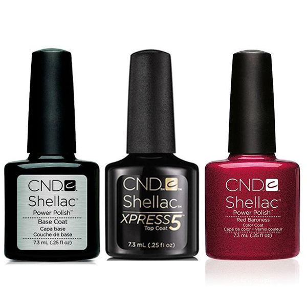 CND - Shellac Xpress5 Combo - Base, Top & Red Baroness (0.25 oz)