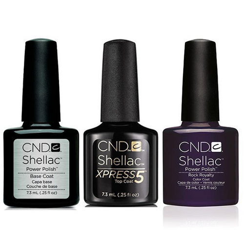 CND - Shellac Xpress5 Combo - Base, Top & Rock Royalty (0.25 oz)