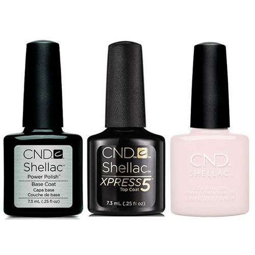 CND - Shellac Xpress5 Combo - Base, Top & Satin Slippers (0.25 oz)