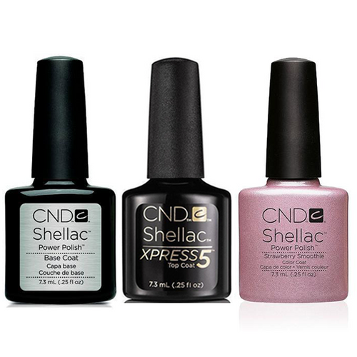 CND - Shellac Xpress5 Combo - Base, Top & Strawberry Smoothie (0.25 oz)