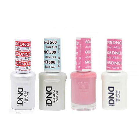 Dnd 500 600 Base Top Gel Lacquer Combo Adobe 608 Sleek Nail