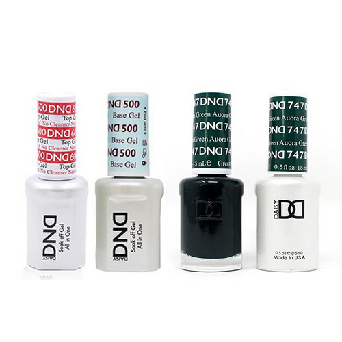 DND - #500#600 Base, Top, Gel & Lacquer Combo - Aurora Green - #747