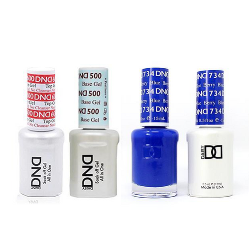 DND - #500#600 Base, Top, Gel & Lacquer Combo - Berry Blue - #734