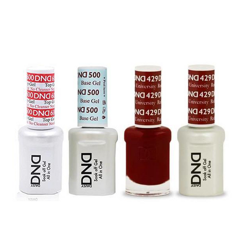 DND - #500#600 Base, Top, Gel & Lacquer Combo - Boston University Red - #429