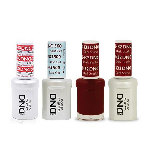 DND - #500#600 Base, Top, Gel & Lacquer Combo - Dark Scarlet - #432