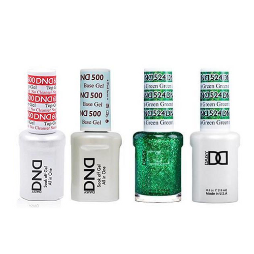 DND - #500#600 Base, Top, Gel & Lacquer Combo - Green to Green - #524