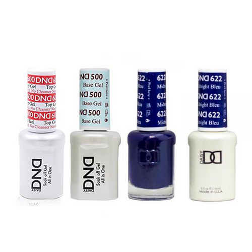 DND - #500#600 Base, Top, Gel & Lacquer Combo - Midnight Blue - #622