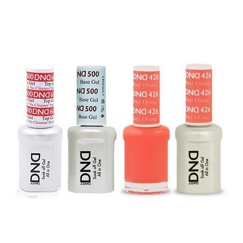 DND - #500#600 Base, Top, Gel & Lacquer Combo - Pastel Orange - #426