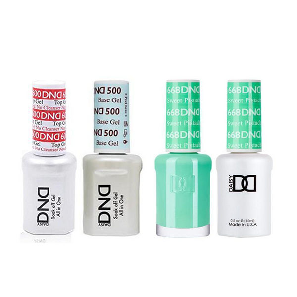 Dnd 500 600 Base Top Gel Lacquer Combo Sweet Pistachio 668 Sleek Nail