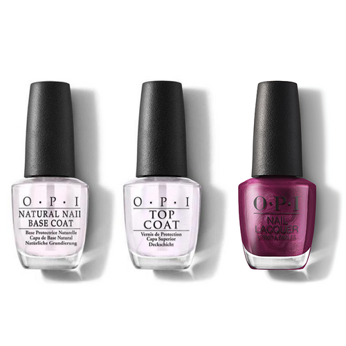 OPI - Nail Lacquer Combo - Base, Top & Dressed To The Wines 0.5 oz - #HRM04