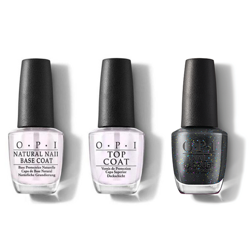 OPI - Nail Lacquer Combo - Base, Top & Heart And Coal 0.5 oz - #HRM12