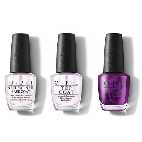 OPI - Nail Lacquer Combo - Base, Top & Let's Take An Elfie 0.5 oz - #HRM09