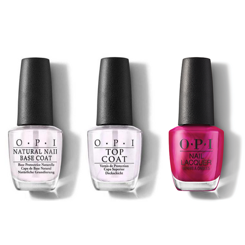 OPI - Nail Lacquer Combo - Base, Top & Merry In Cranberry 0.5 oz - #HRM07