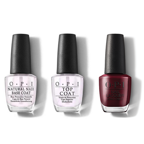 OPI - Nail Lacquer Combo - Base, Top & Complimentary Wine 0.5 oz - #NLMI12