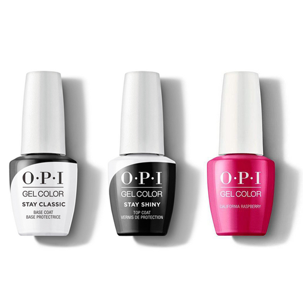 OPI - GelColor Combo - Stay Classic Base, Shiny Top & California Raspberry