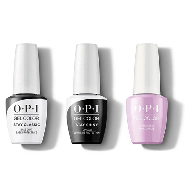OPI - GelColor Combo - Stay Classic Base, Shiny Top & Lavendare To Find Courage