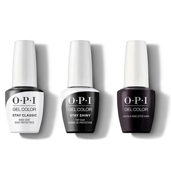 OPI - GelColor Combo - Stay Classic Base, Shiny Top & Lincoln Park After Dark