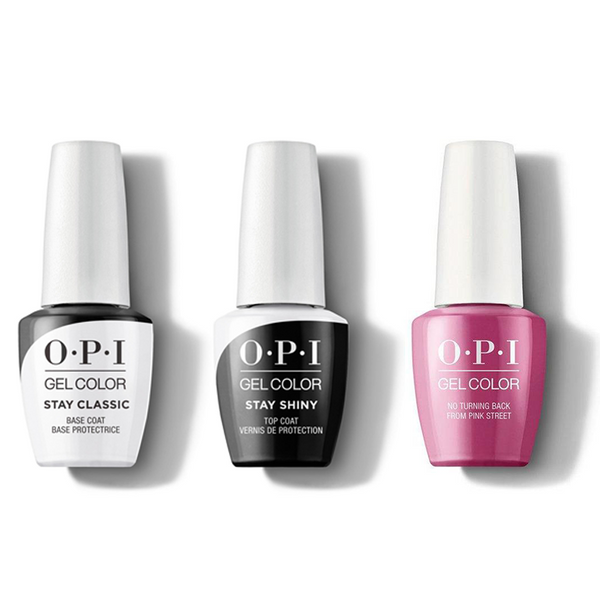 OPI - GelColor Combo - Stay Classic Base, Shiny Top & No Turning Back From Pink Street