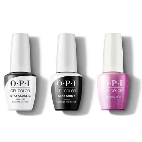 OPI - GelColor Combo - Stay Classic Base, Shiny Top & Rainbows a Go Go