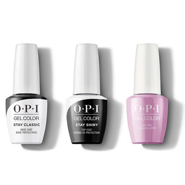 OPI - GelColor Combo - Stay Classic Base, Shiny Top & Suzi Will Quechua Later!