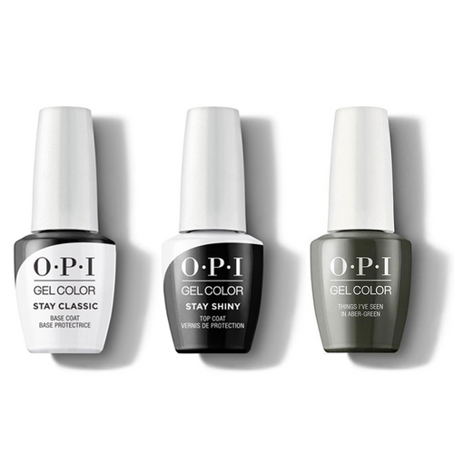 OPI - GelColor Combo - Stay Classic Base, Shiny Top & Things I've Seen In Aber-green