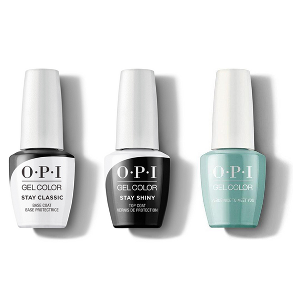 OPI - GelColor Combo - Stay Classic Base, Shiny Top & Verde Nice To Meet You