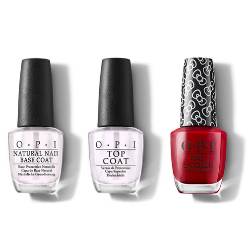 OPI - Nail Lacquer Combo - Base, Top & A Kiss On The Chic 0.5 oz - #HRL05