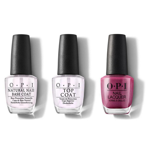 OPI - Nail Lacquer Combo - Base, Top & A Rose At Dawn... Broke By Noon 0.5 oz - #NLV11