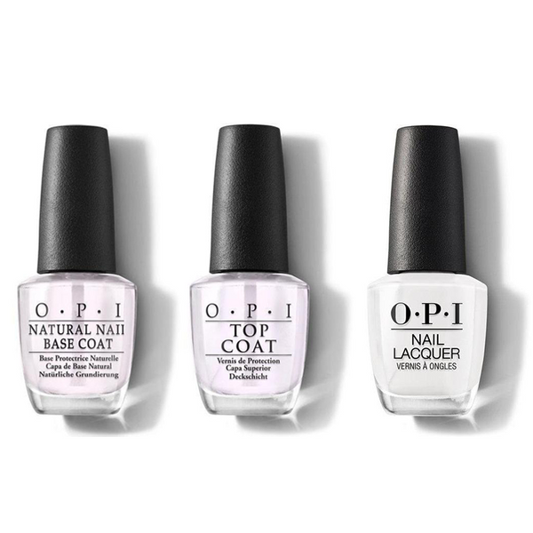 OPI - Nail Lacquer Combo - Base, Top & Alpine Snow 0.5 oz - #NLL00