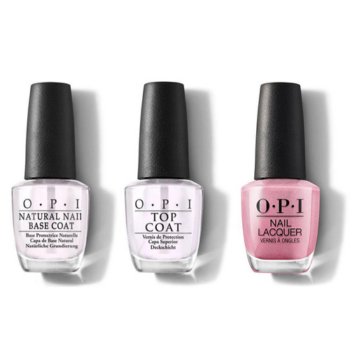 OPI - Nail Lacquer Combo - Base, Top & Aphrodite's Pink Nightie 0.5 oz - #NLG01
