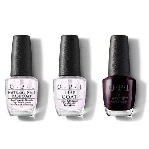 OPI - Nail Lacquer Combo - Base, Top & Black Cherry Chutney 0.5 oz - #NLI43