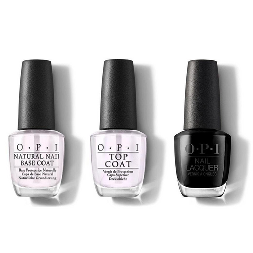 OPI - Nail Lacquer Combo - Base, Top & Black Onyx 0.5 oz - #NLT02