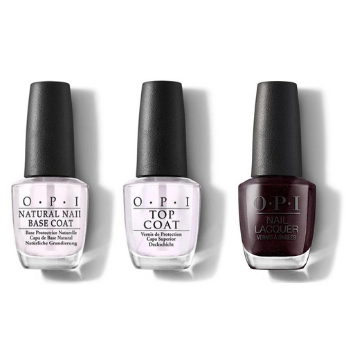 OPI - Nail Lacquer Combo - Base, Top & Black To Reality 0.5 oz - #NLHRK12