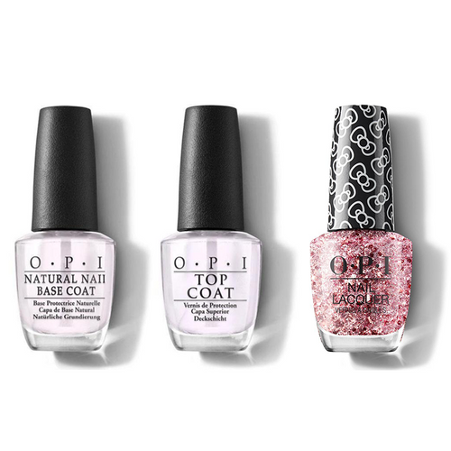 OPI - Nail Lacquer Combo - Base, Top & Born To Sparkle 0.5 oz - #HRL13