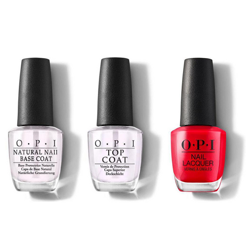 OPI - Nail Lacquer Combo - Base, Top & Cajun Shrimp 0.5 oz - #NLL64