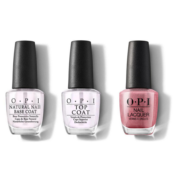 OPI - Nail Lacquer Combo - Base, Top & Chicago Champagne Toast 0.5 oz - #NLS63