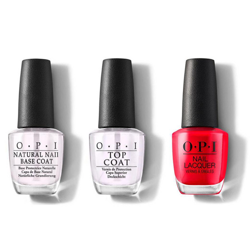 OPI - Nail Lacquer Combo - Base, Top & Coca-Cola Red 0.5 oz - #NLC13