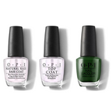 OPI - Nail Lacquer Combo - Base, Top & Envy The Adventure 0.5 oz - #NLHRK06