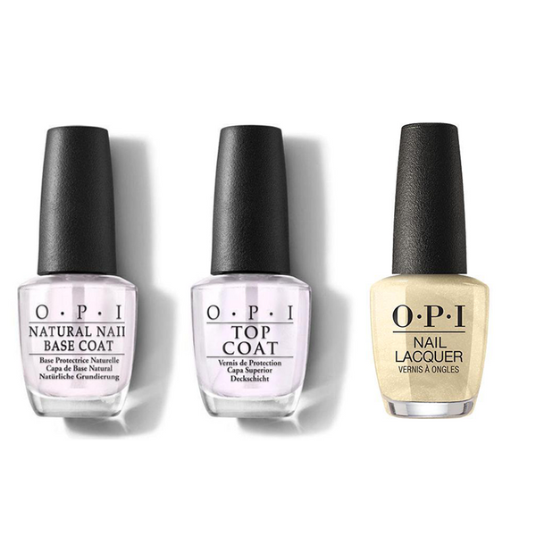 OPI - Nail Lacquer Combo - Base, Top & Gift of Gold Never Gets Old 0.5 oz - #NLHRJ012