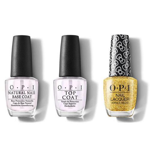 OPI - Nail Lacquer Combo - Base, Top & Glitter All The Way 0.5 oz - #HRL12