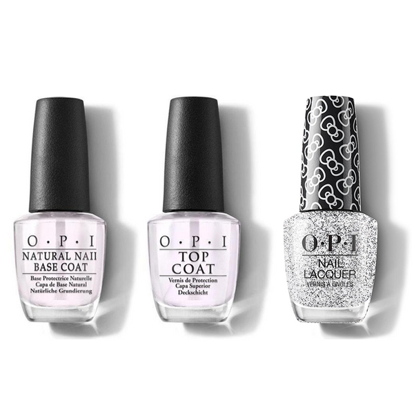 OPI - Nail Lacquer Combo - Base, Top & Glitter To My Heart 0.5 oz - #HRL01