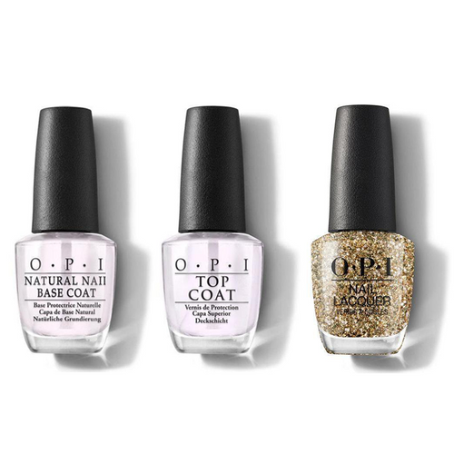 OPI - Nail Lacquer Combo - Base, Top & Gold Key To The Kingdom 0.5 oz - #NLHRK13
