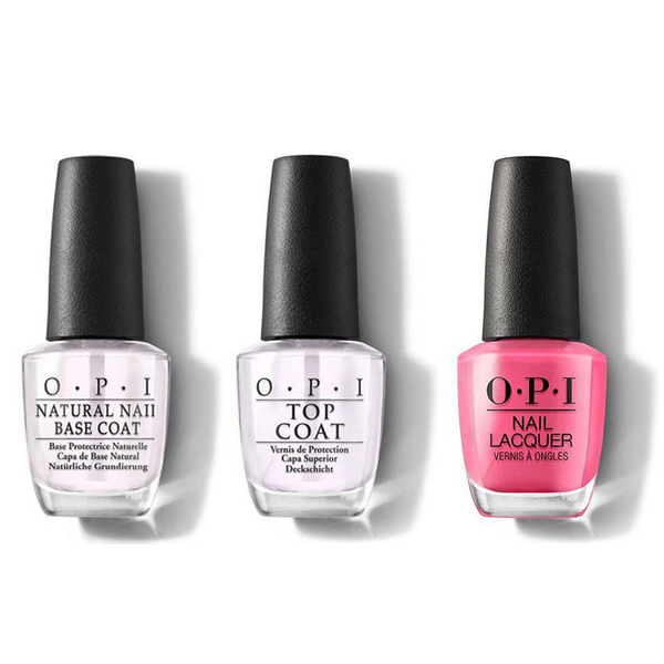 OPI - Nail Lacquer Combo - Base, Top & Hotter Than You Pink 0.5 oz - #NLN36